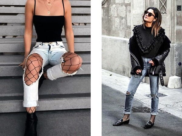 fishnet tights with ripped jeans