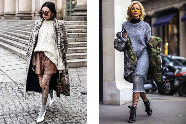 fishnets in complex multi-layered looks